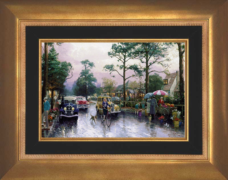Carmel, Ocean Avenue on a Rainy Afternoon - Aurora Gold