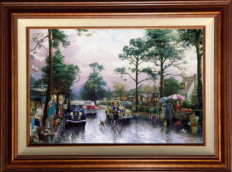 Carmel, Ocean Avenue on a Rainy Afternoon - Copper
