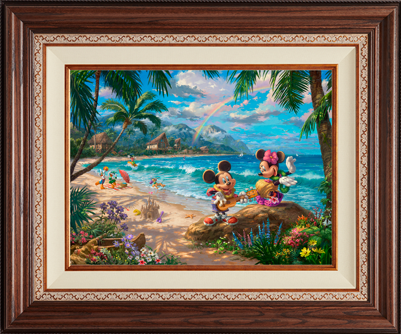 Mickey and Minnie in Hawaii - Deluxe Walnut
