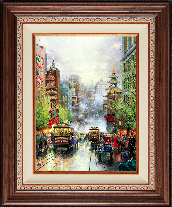 San Francisco, A View Down California Street From Nob Hill - Deluxe Walnut